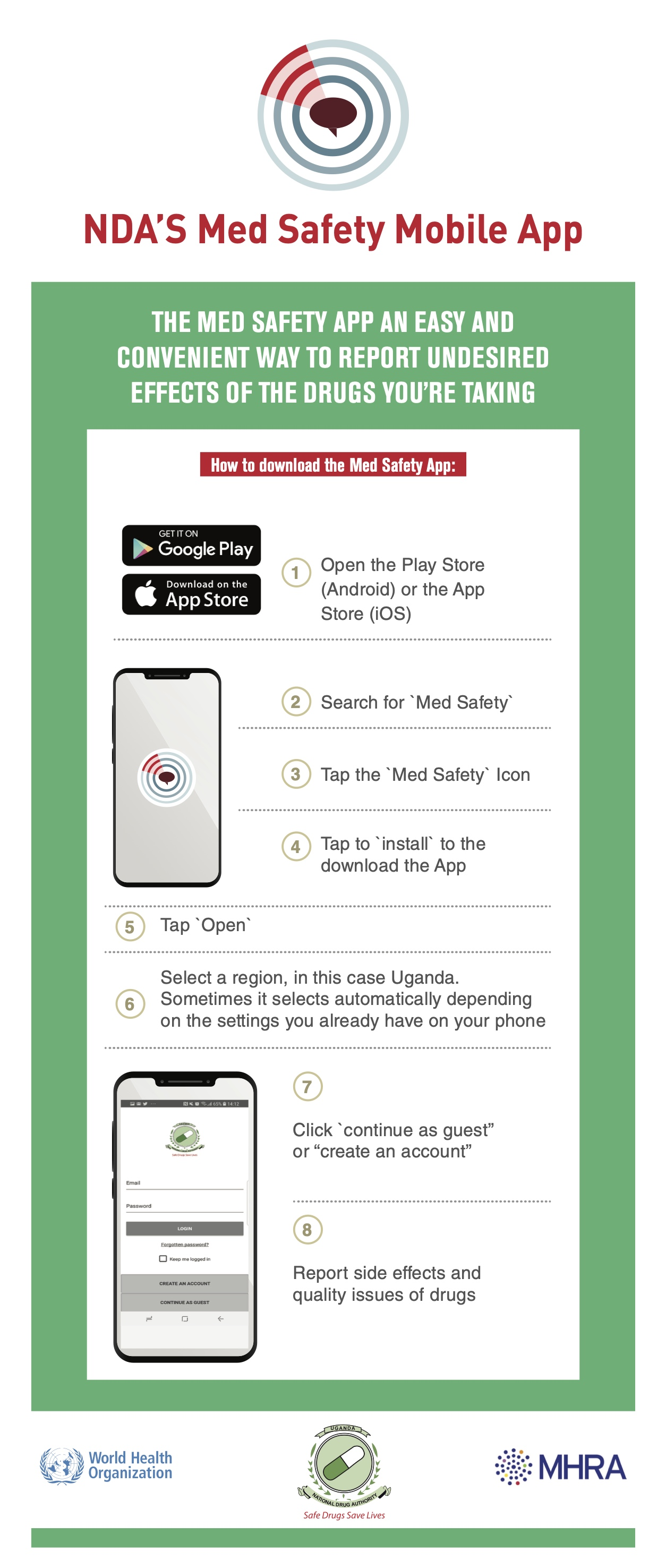 The Med Safety App is available from Google Play (Android) and Apple App Store (iOS).